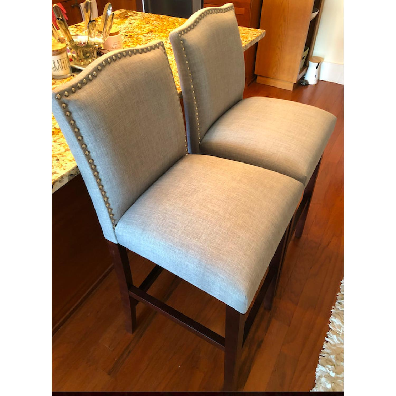 Skyline Furniture Gray Linen Upholstered Nail Button Stools - image-6