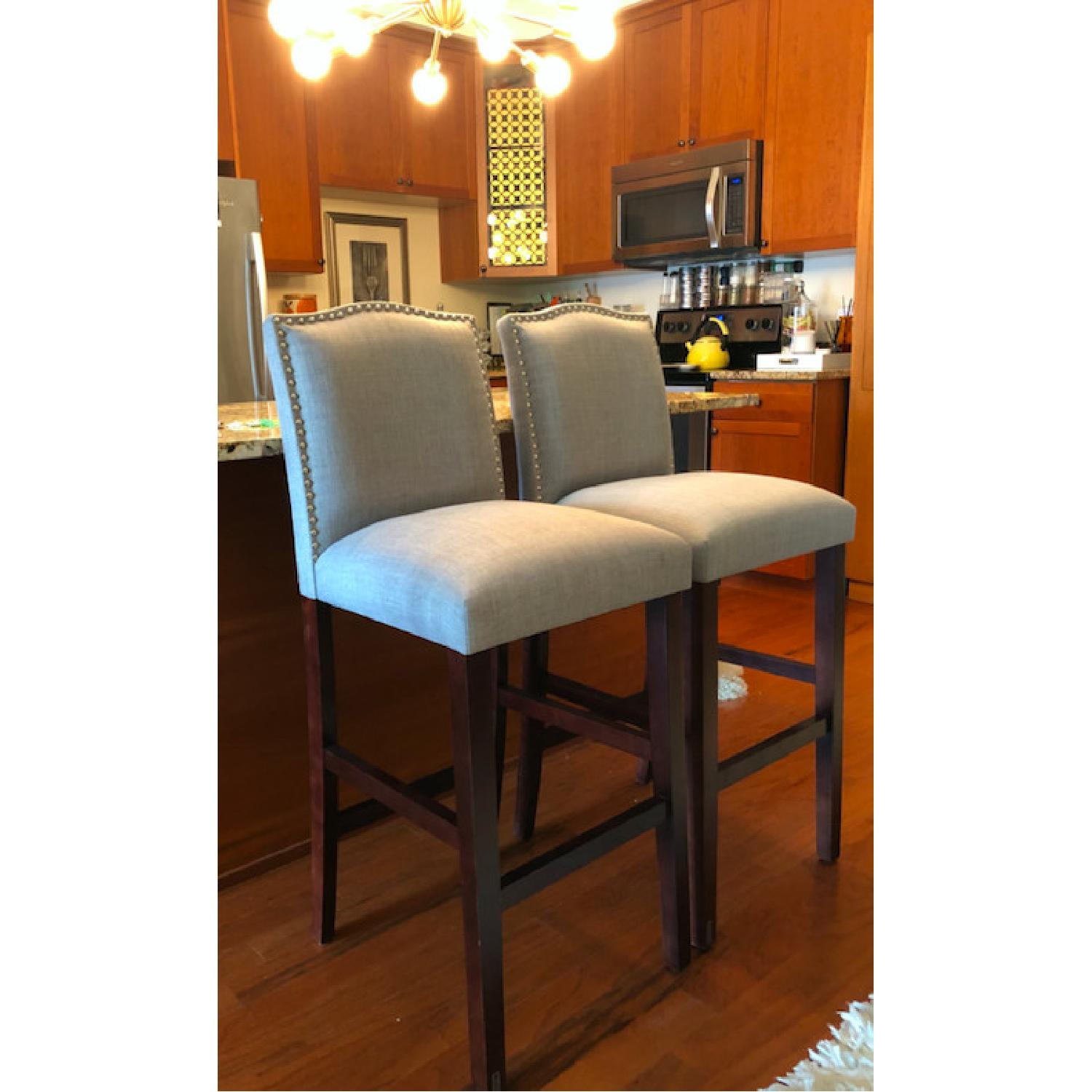 Skyline Furniture Gray Linen Upholstered Nail Button Stools - image-5