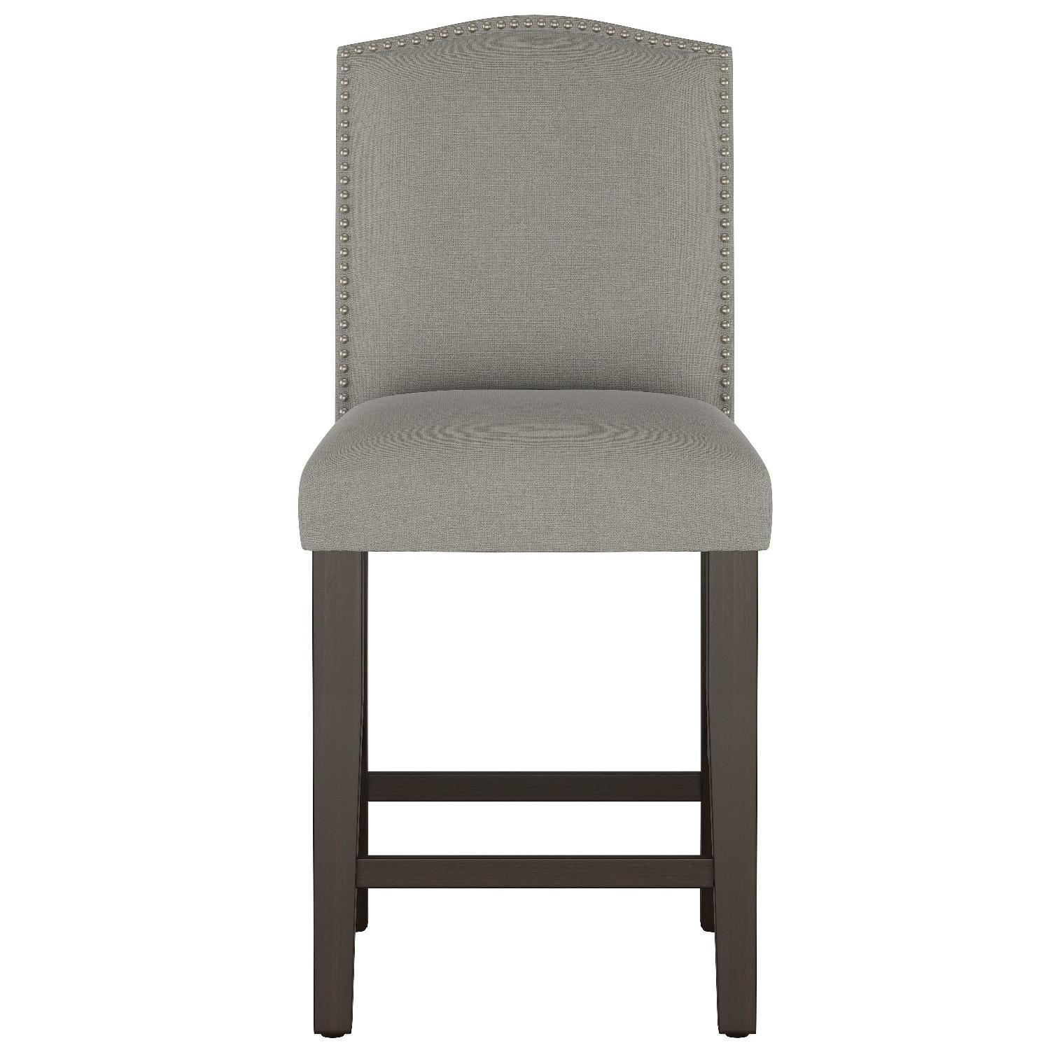Skyline Furniture Gray Linen Upholstered Nail Button Stools - image-0