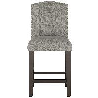 Skyline Furniture Gray Linen Upholstered Nail Button Stools