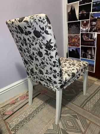 Outstanding Black White Patterned Fabric Chair Aptdeco Creativecarmelina Interior Chair Design Creativecarmelinacom