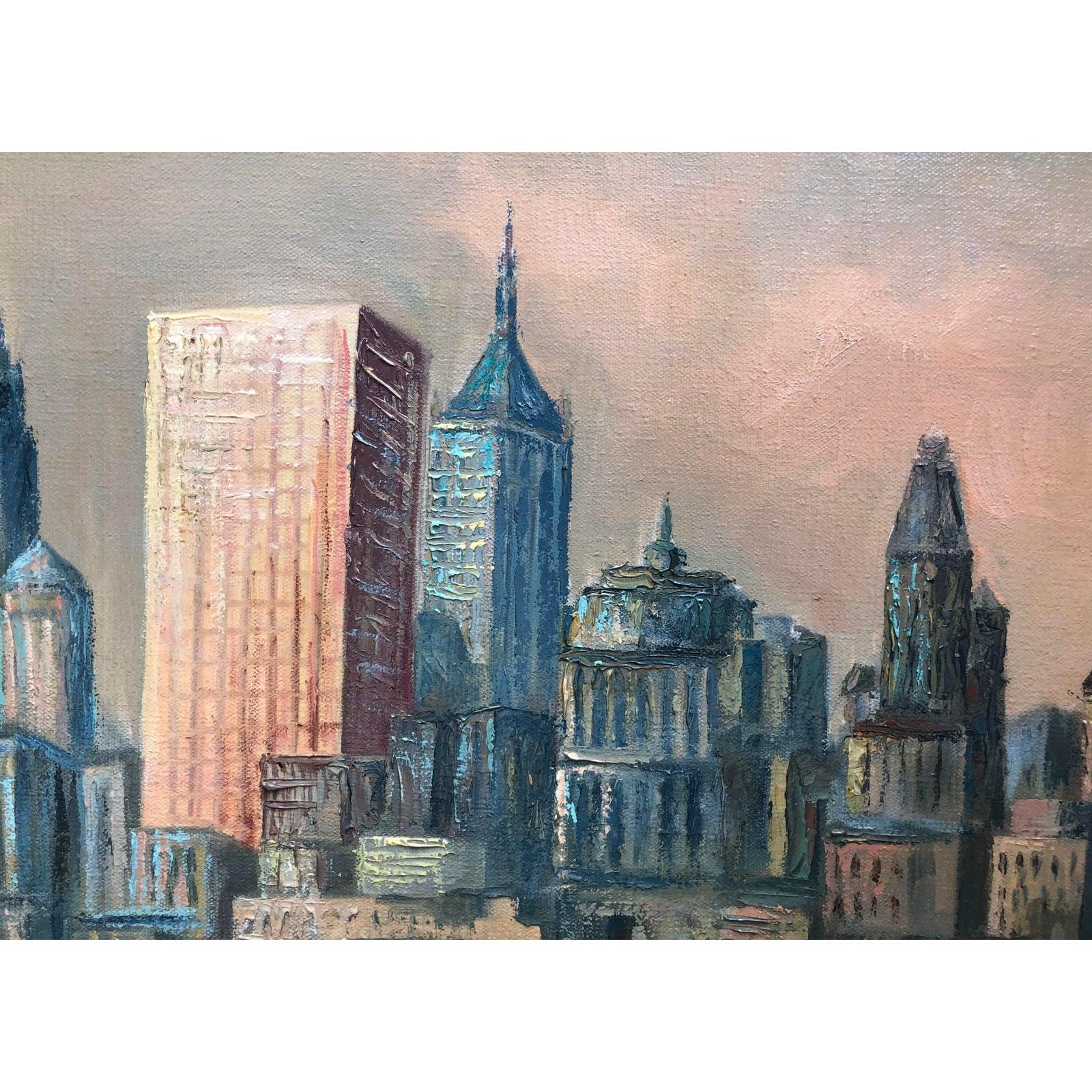 1950's Mid Century Cityscape Painting on Oversized Canvas