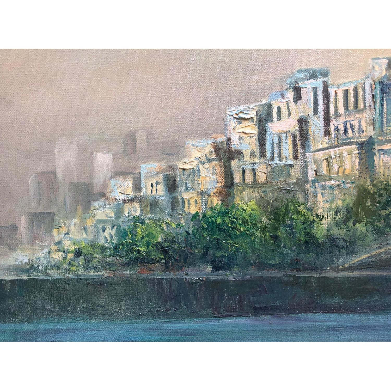 1950's Mid Century Cityscape Painting on Oversized Canvas - image-4