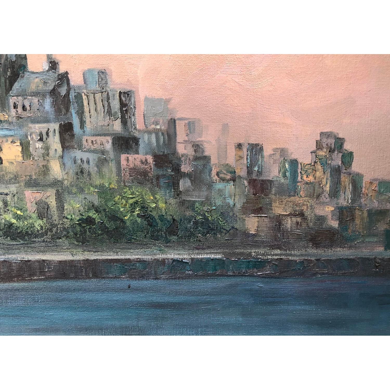 1950's Mid Century Cityscape Painting on Oversized Canvas - image-6
