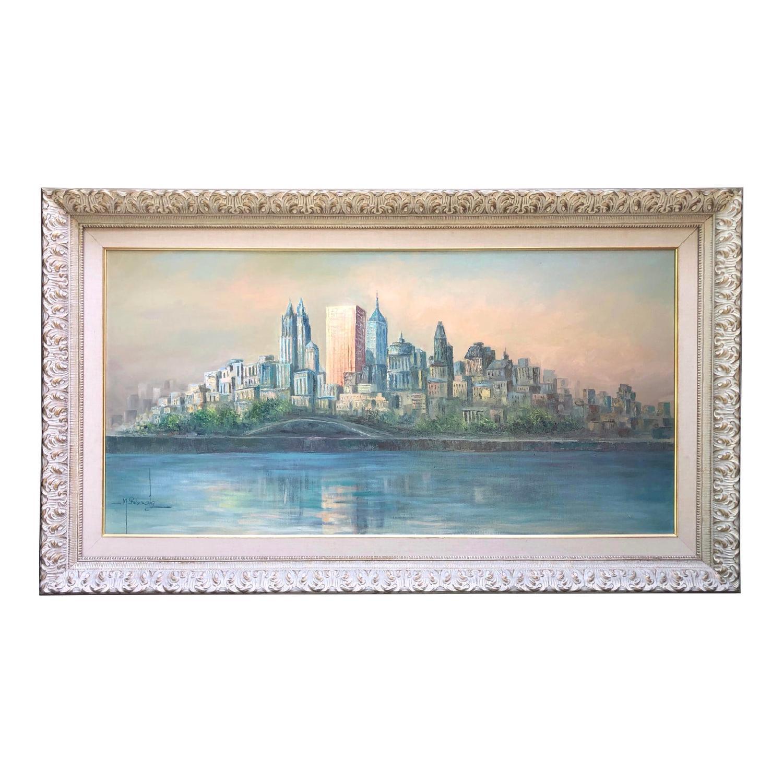 1950's Mid Century Cityscape Painting on Oversized Canvas - image-0