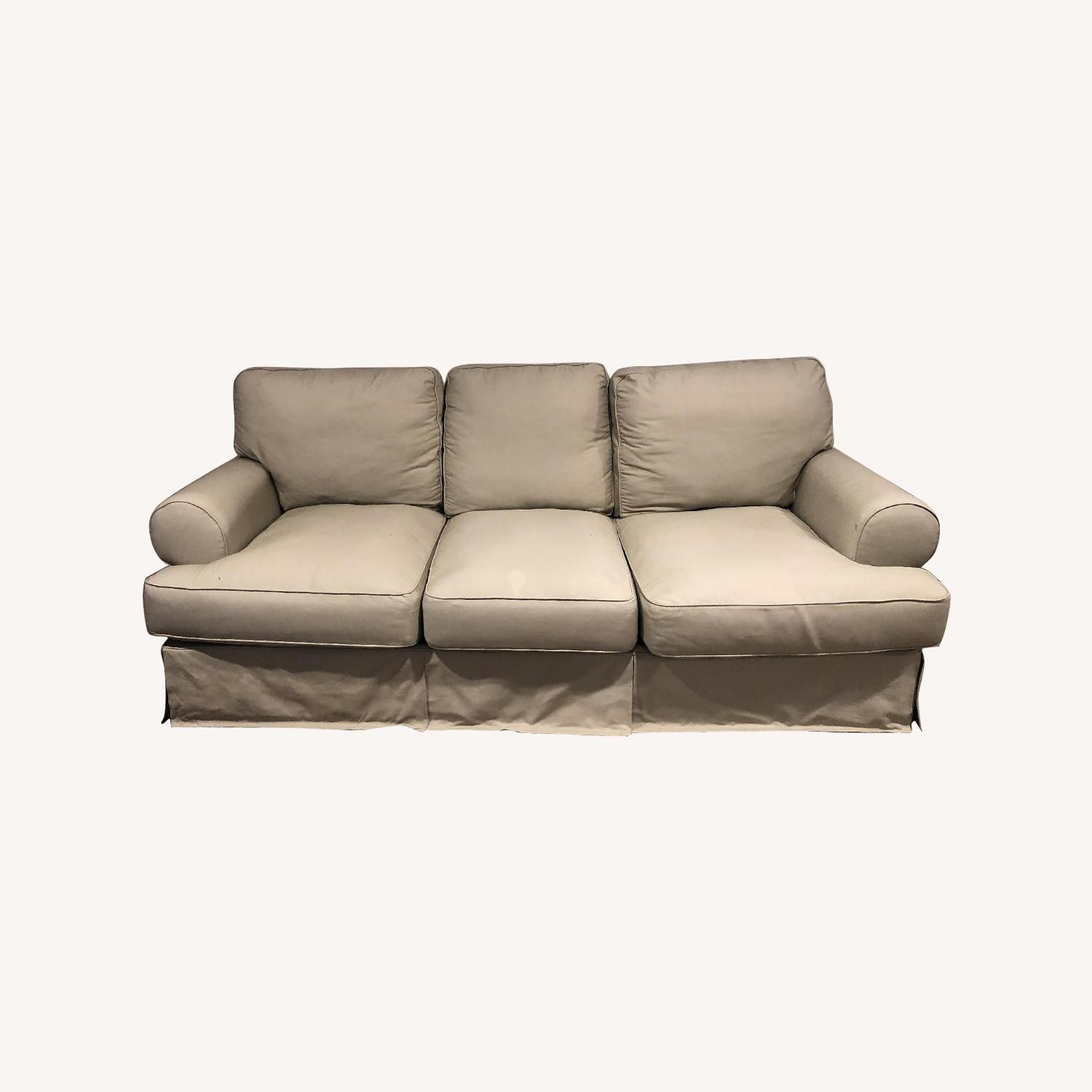Ashley Beige Slipcovered Sofa - image-0