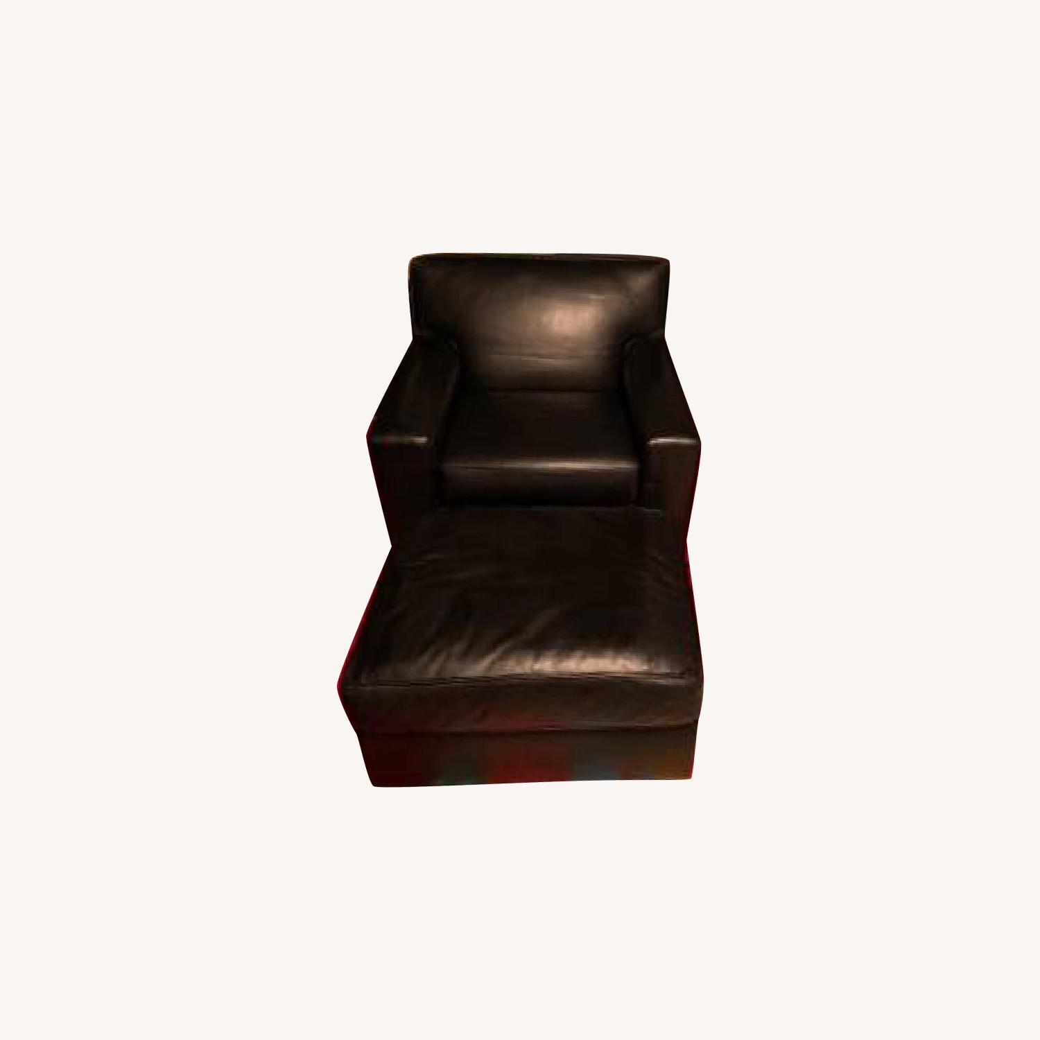 Restoration Hardware Black Leather Chair & Ottoman