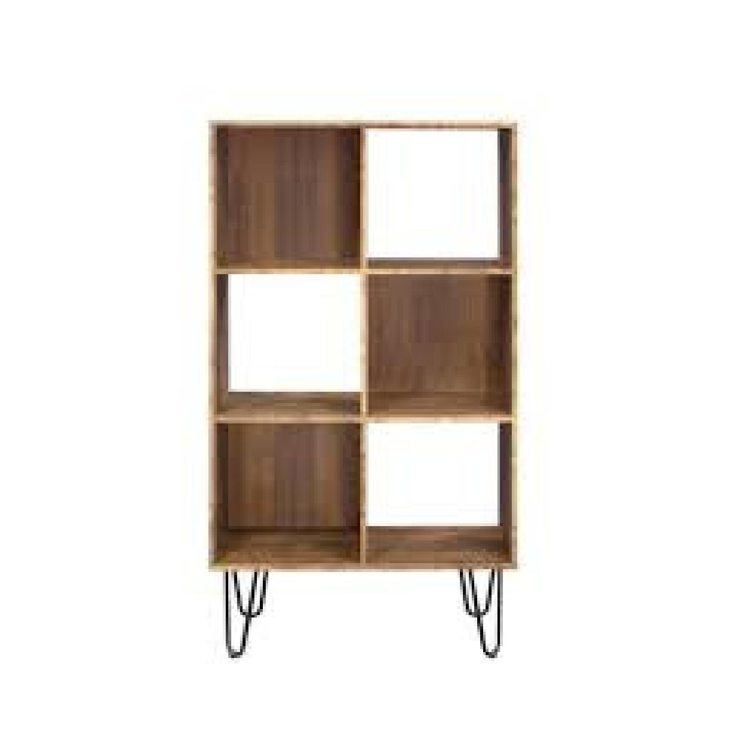 Rustic Amber Bookcase w/ Hair Pin Legs - image-0