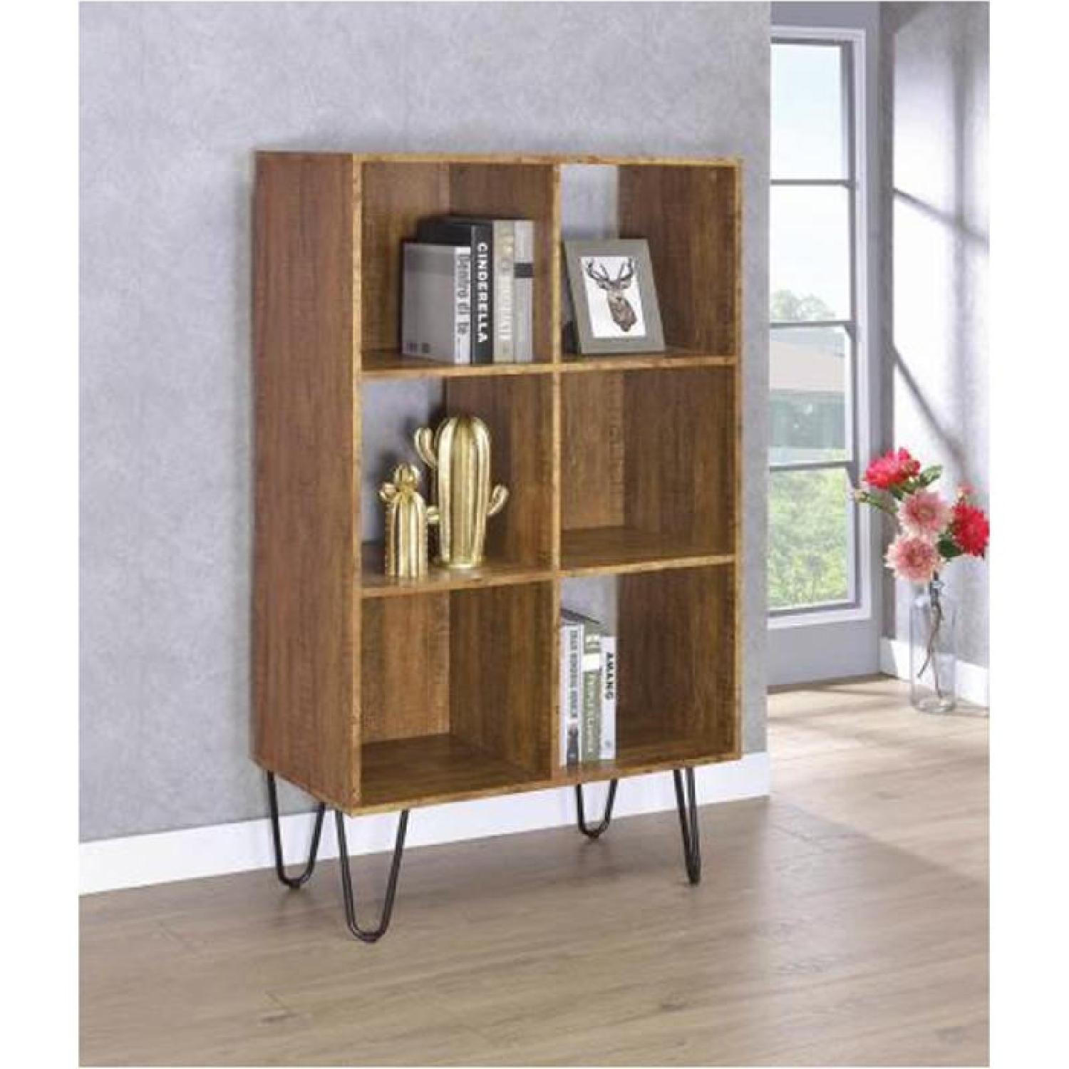 Rustic Amber Bookcase w/ Hair Pin Legs - image-3