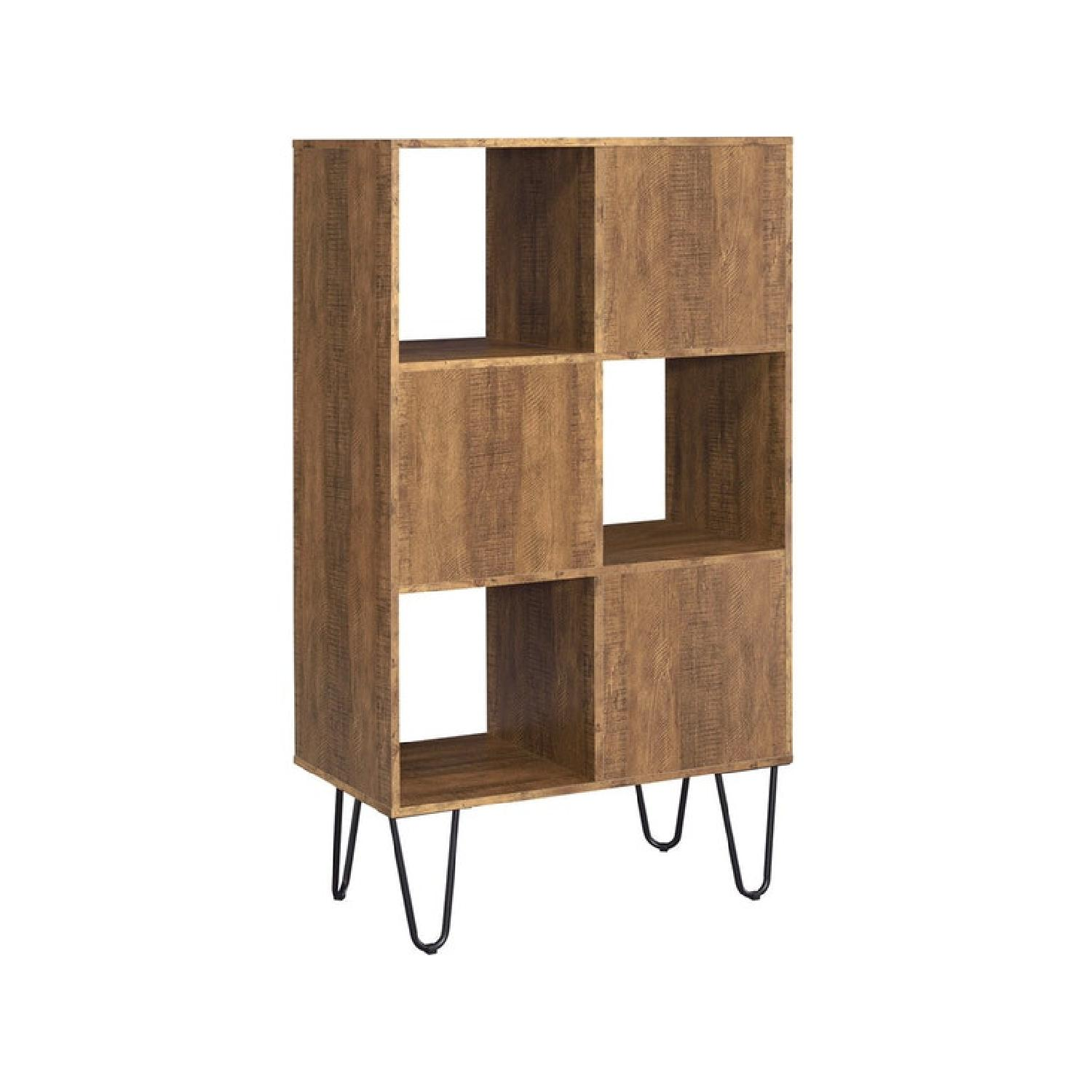 Rustic Amber Bookcase w/ Hair Pin Legs - image-2