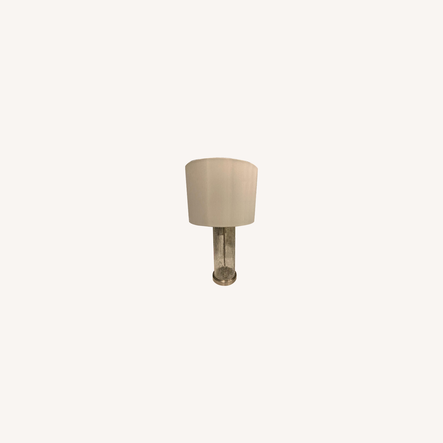 White Table Lamp w/ Silver Hardware