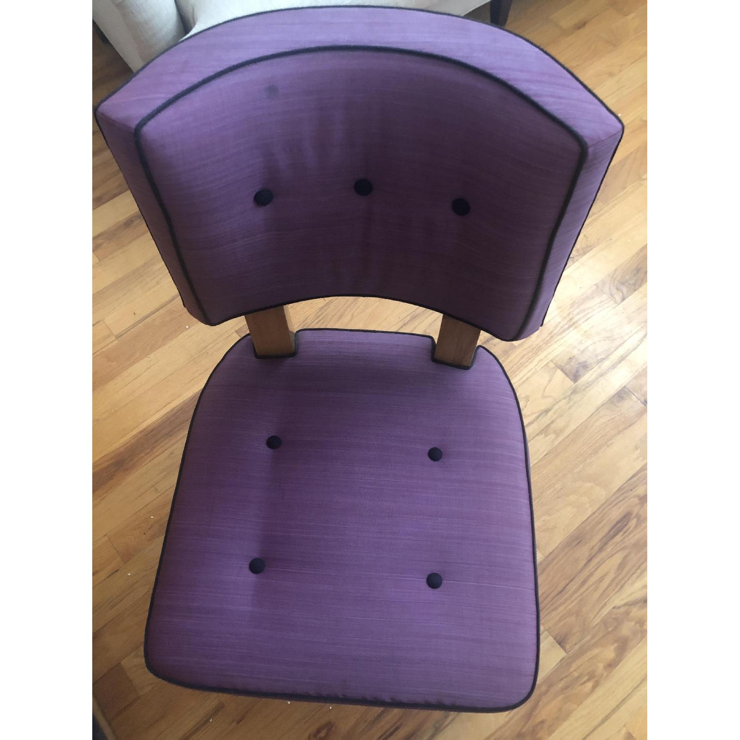 Vintage Purple Button Tufted Dining Chairs - image-1