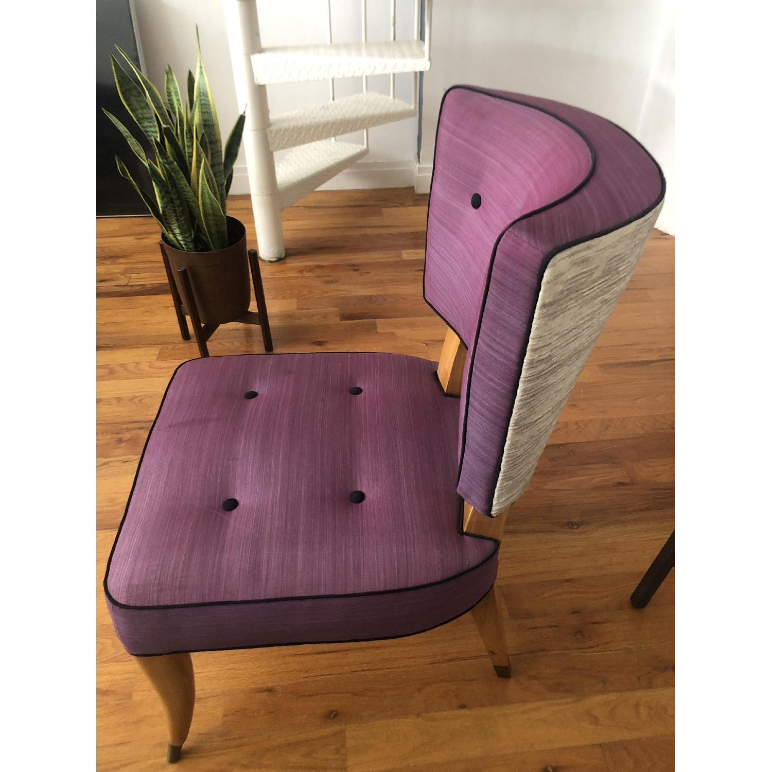 Vintage Purple Button Tufted Dining Chairs - image-3