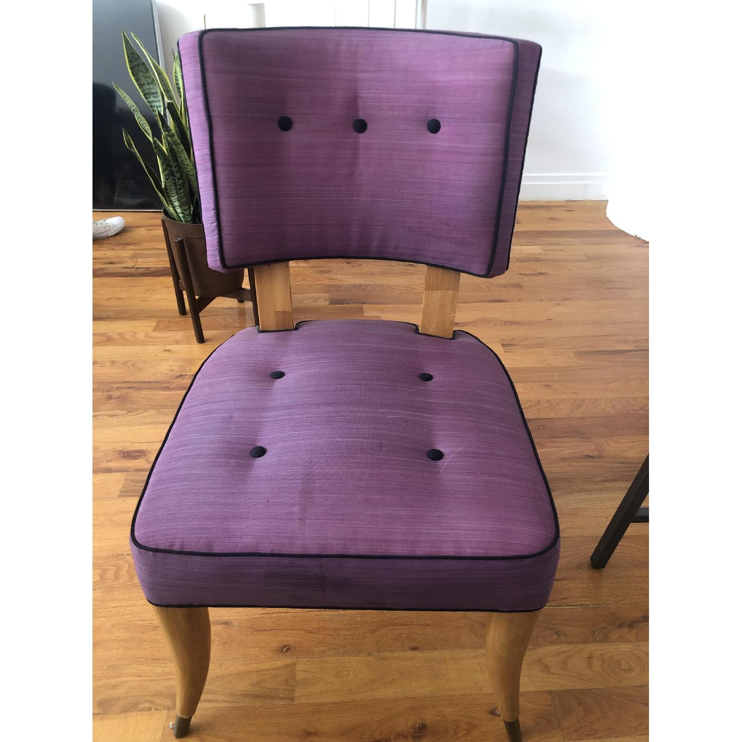 Vintage Purple Button Tufted Dining Chairs - image-5