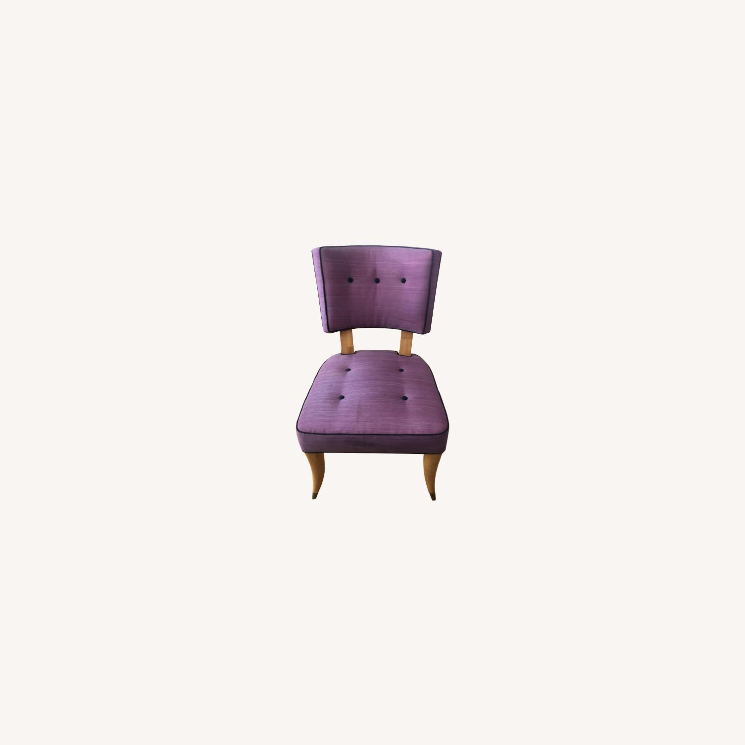 Vintage Purple Button Tufted Dining Chairs - image-0