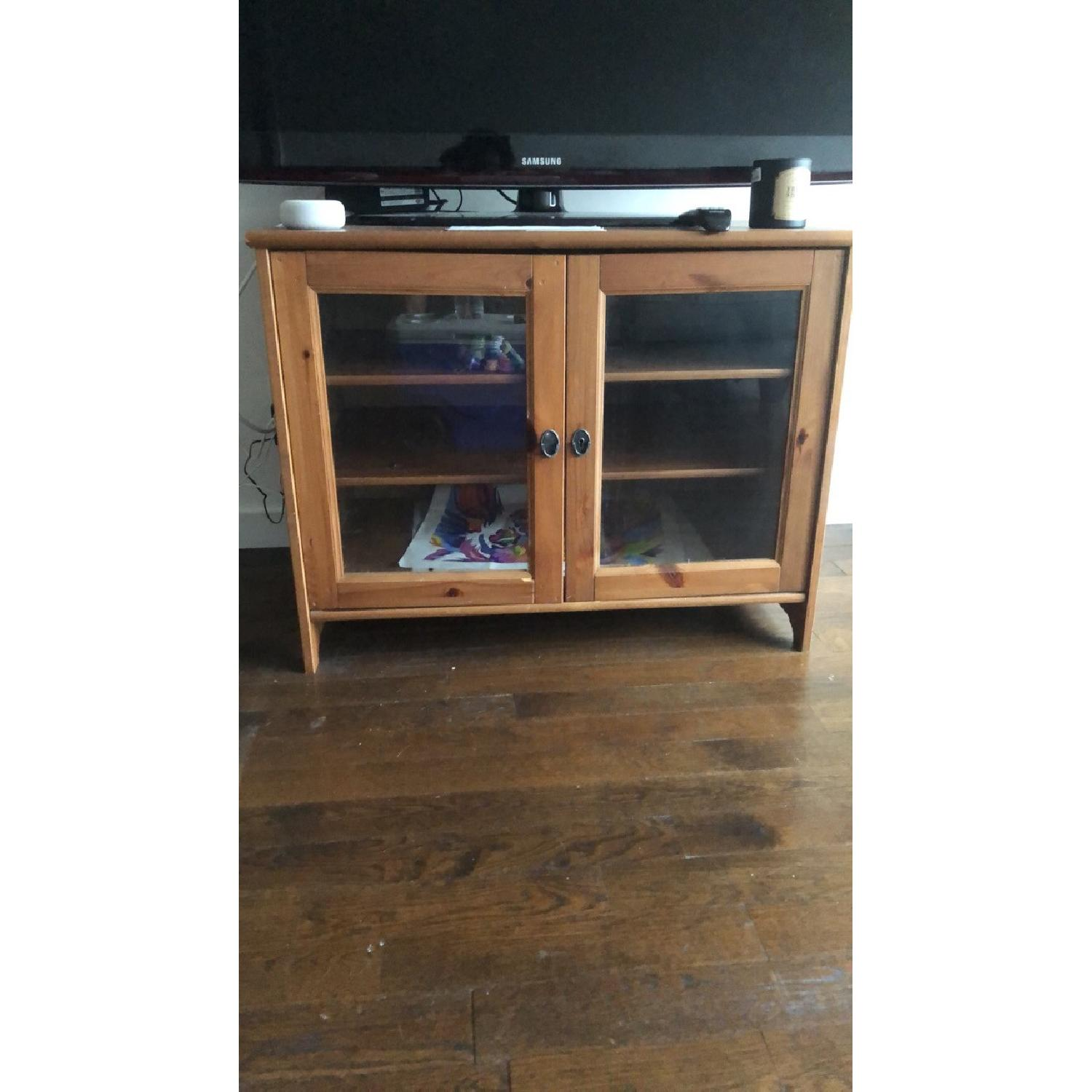 Wood TV Stand w/ Glass Doors - image-2