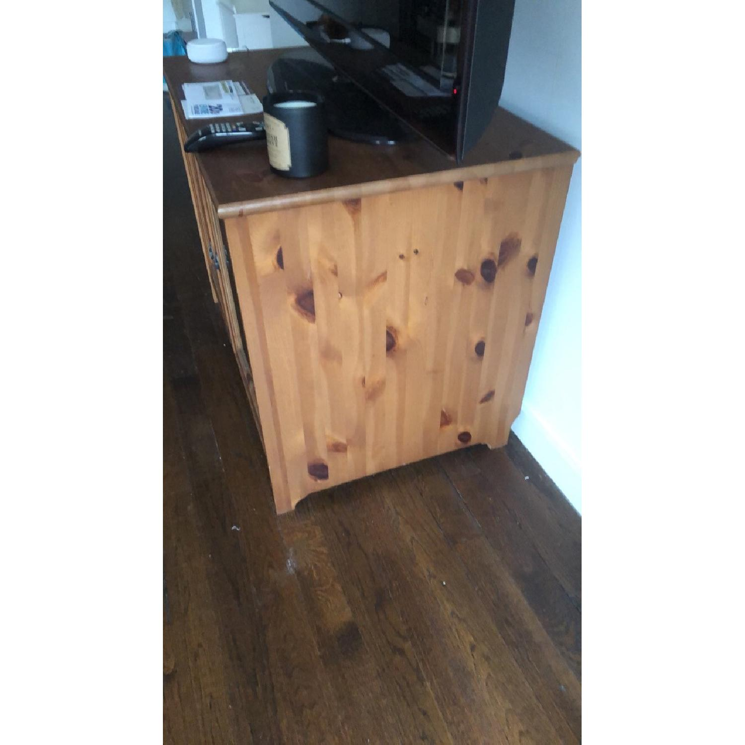 Wood TV Stand w/ Glass Doors - image-3
