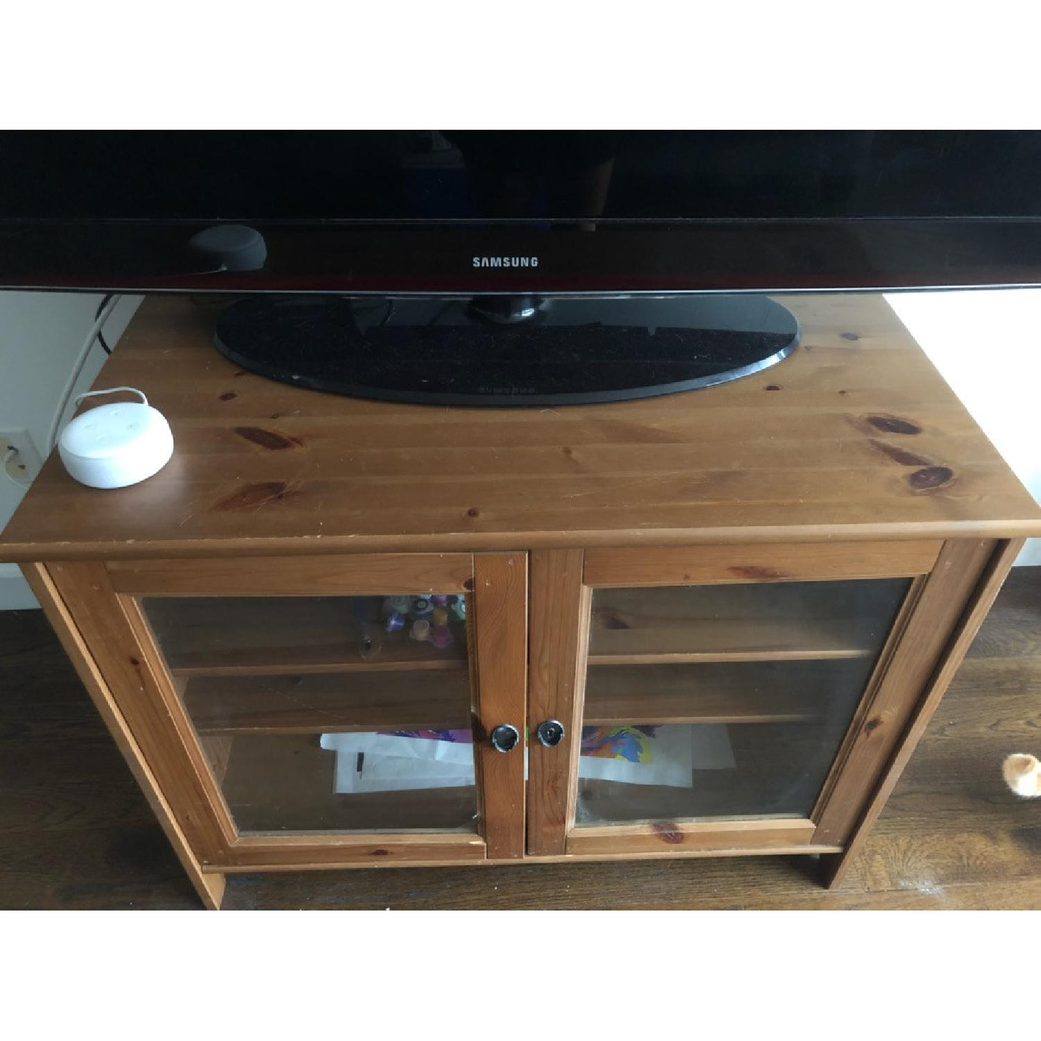 Wood TV Stand w/ Glass Doors - image-4