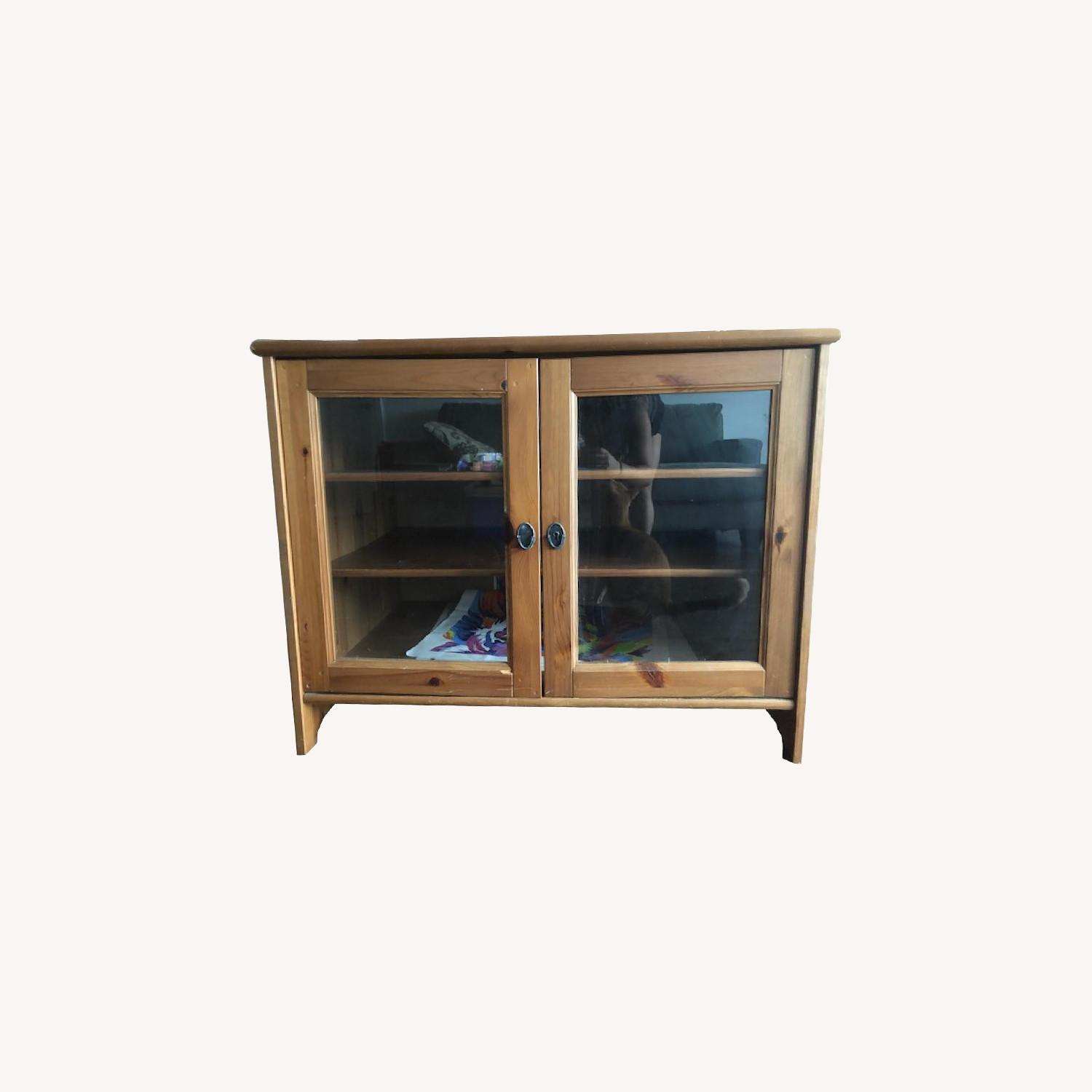 Wood TV Stand w/ Glass Doors - image-0