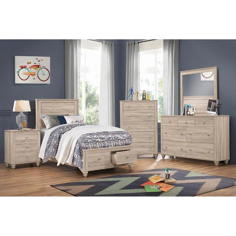 Full Platform Bed in Natural Finish w/ 2 Storage Drawers - image-5