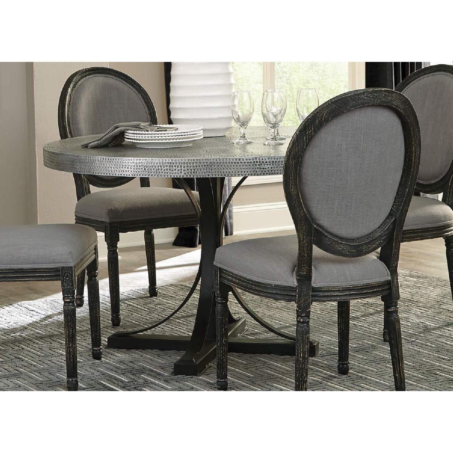 Bohemian Style Round Dining Table w/ Hand-Hammered Iron Top - image-2