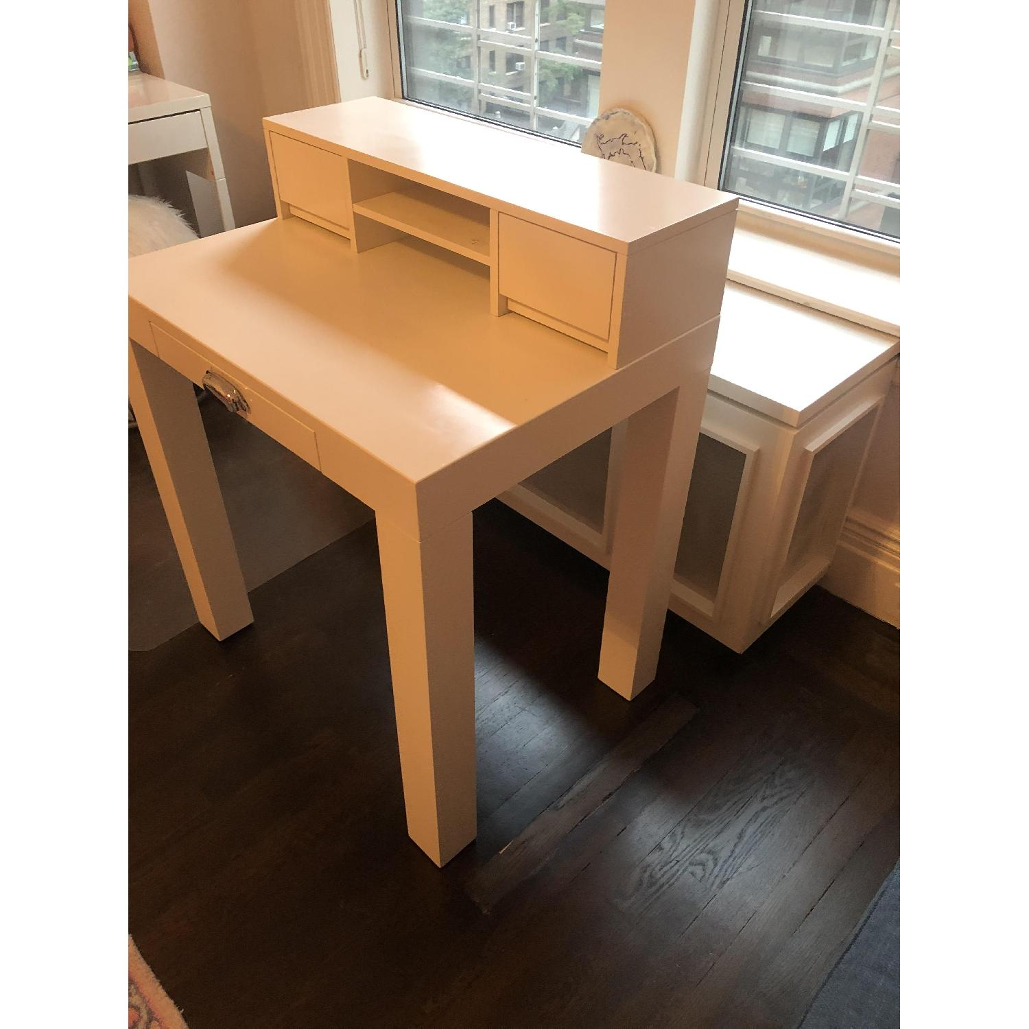 Pottery Barn Mini Parsons Desk w/ Hutch - image-2