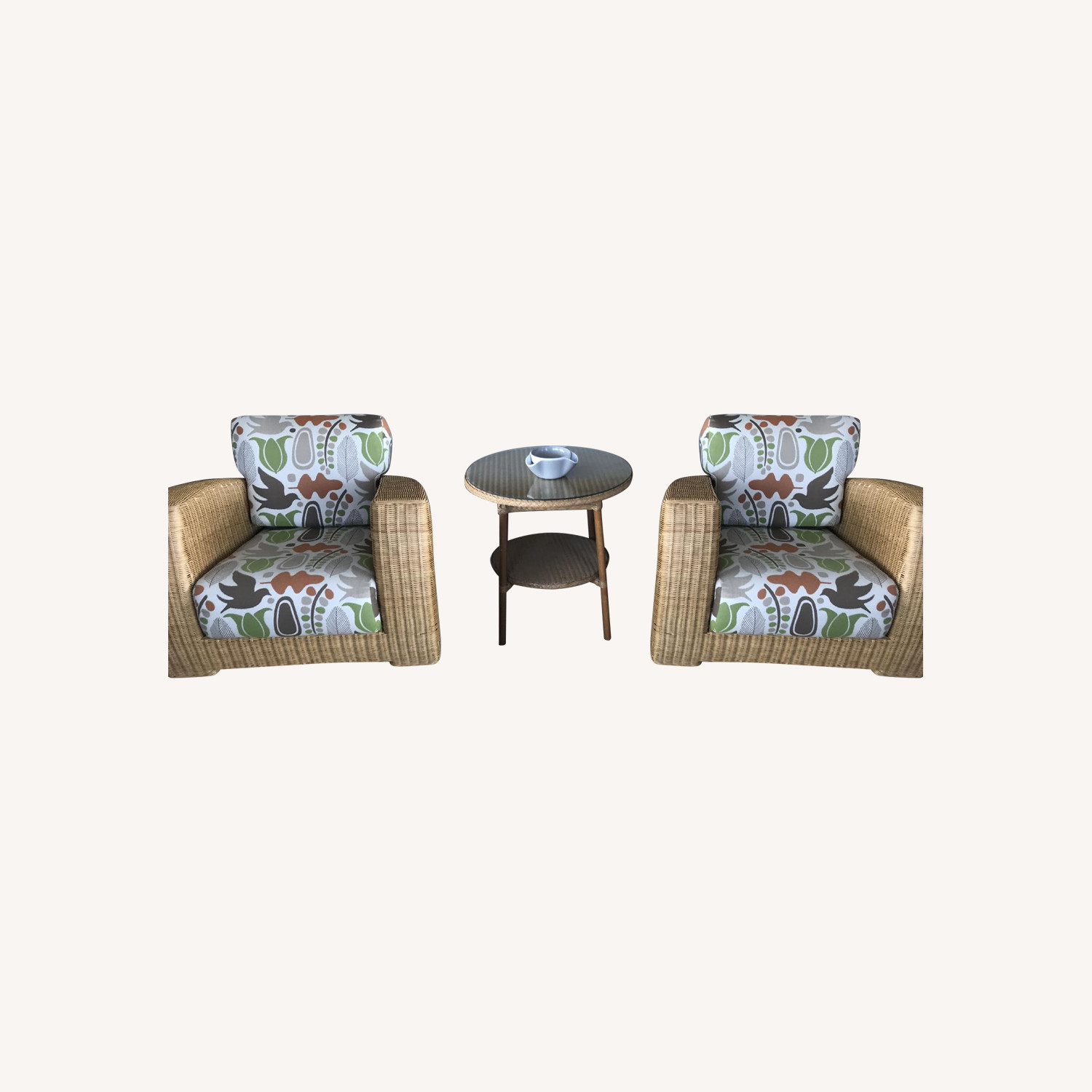 Kosuga Vintage Rattan Armchairs + Accent Table
