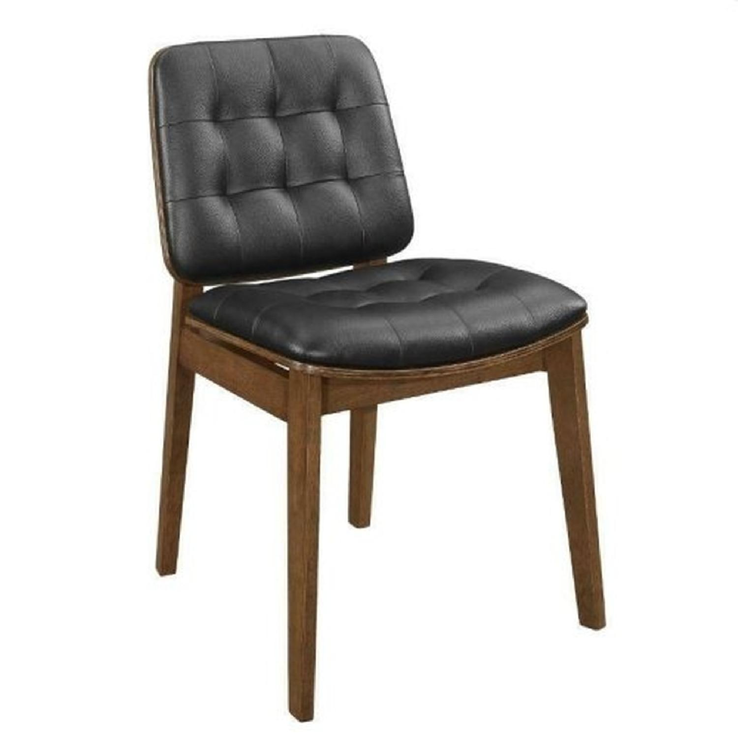Mid Century Style Dining Chair in Walnut Frame & Black Seat - image-0
