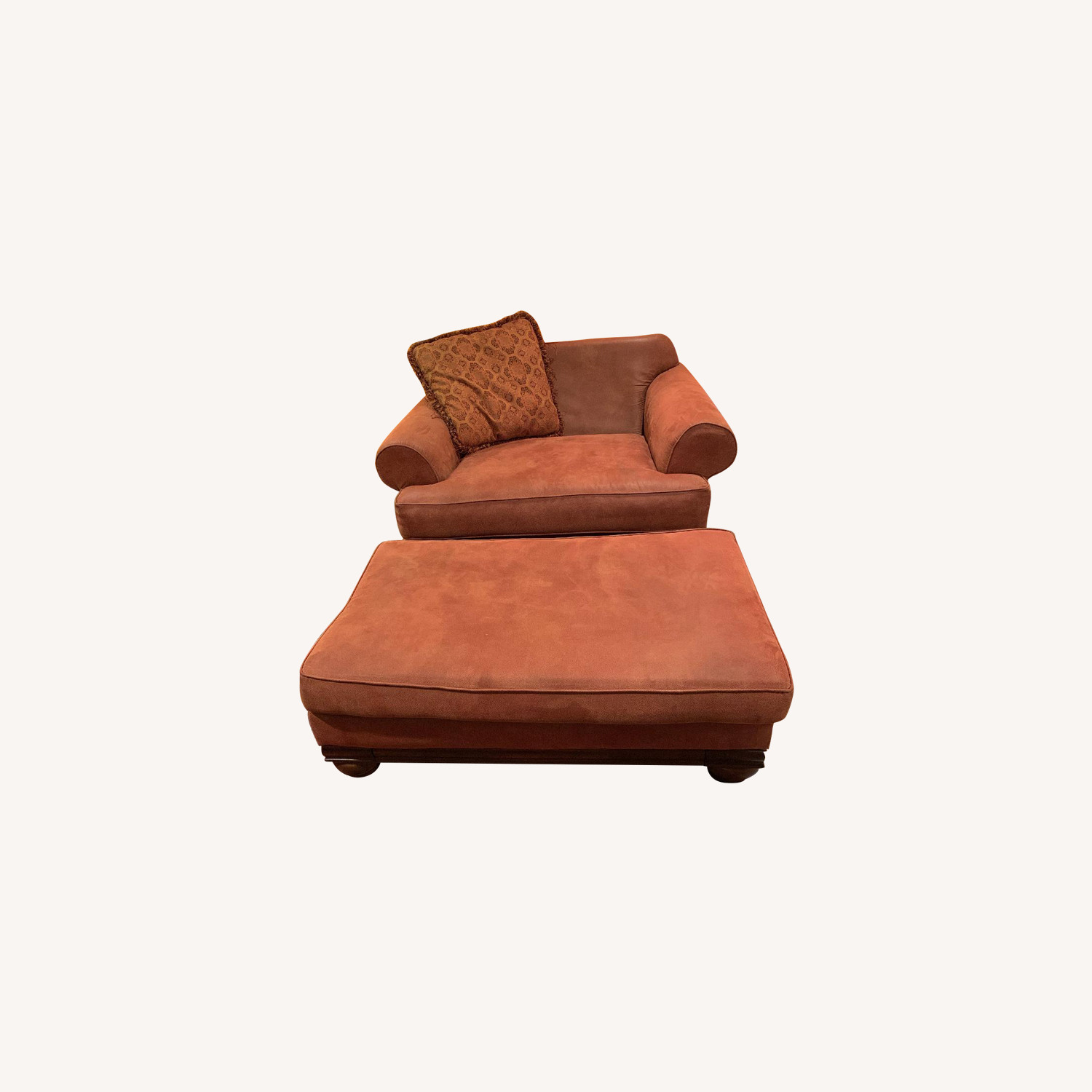 Peter Andrews Suede Chair & Ottoman
