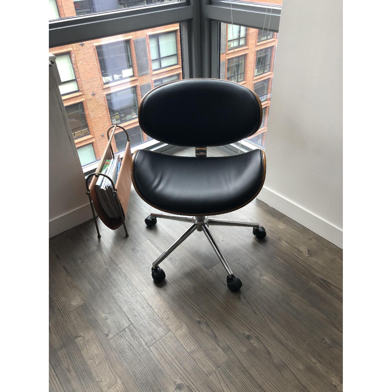 Black Faux Leather Desk Chair - image-1