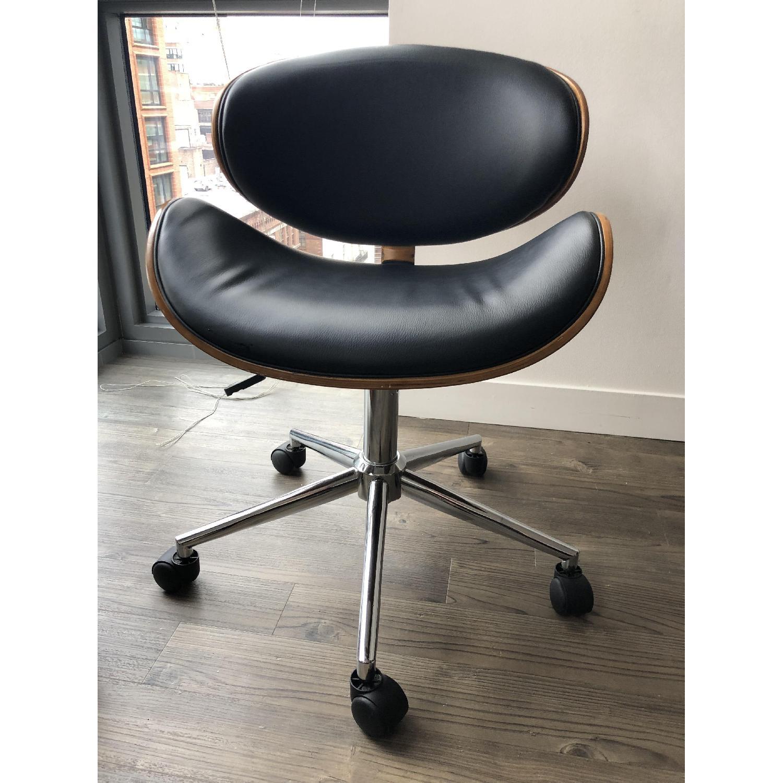 Black Faux Leather Desk Chair - image-2