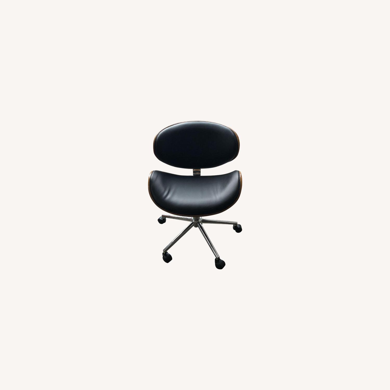 Black Faux Leather Desk Chair - image-0