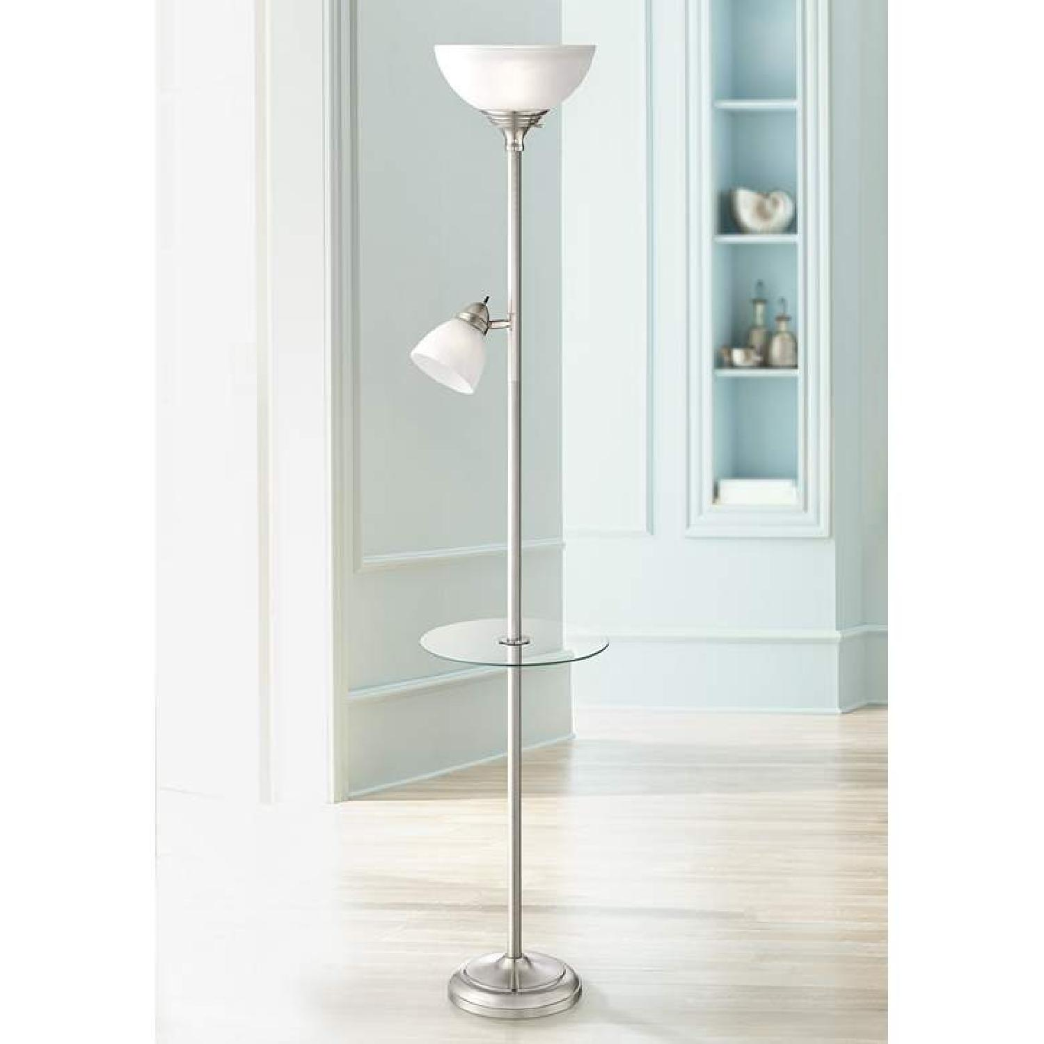 Torchiere Floor Lamp w/ Table & Reading Light - image-2