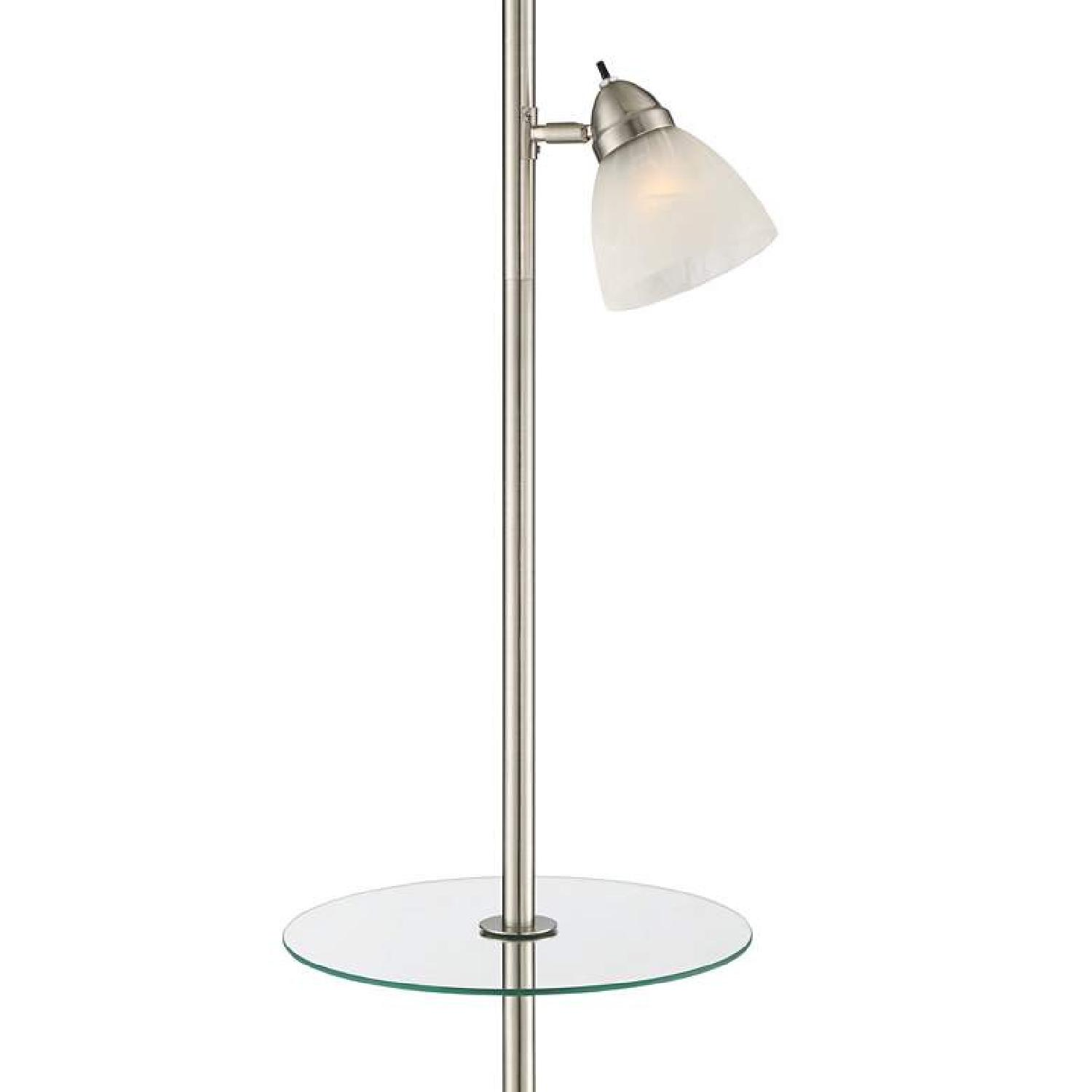 Torchiere Floor Lamp w/ Table & Reading Light - image-3