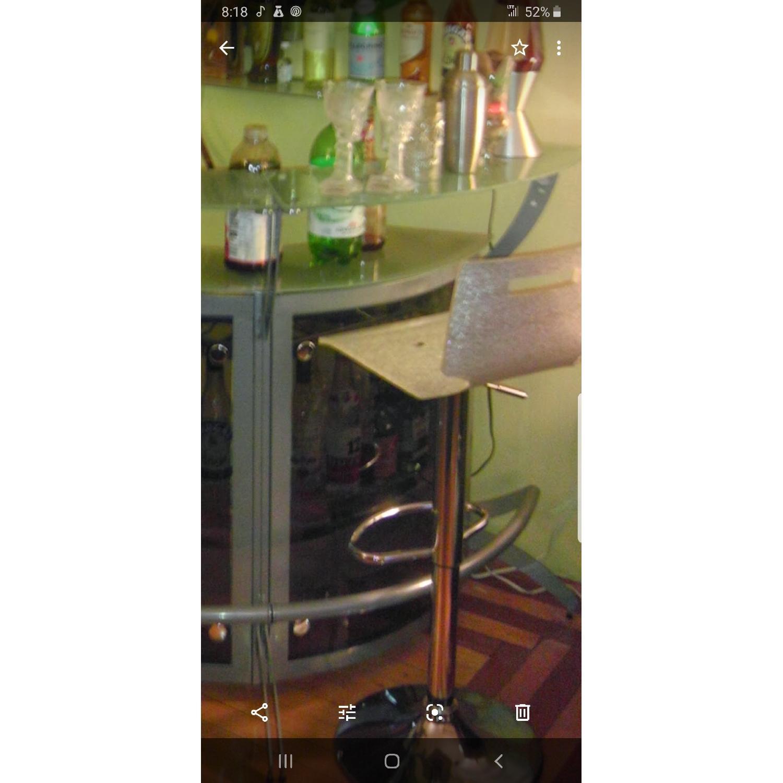 Grey Metal & Glass Bar w/ 2 Stools - image-1