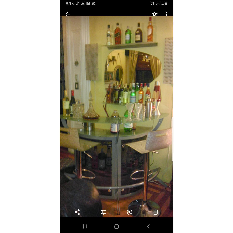 Grey Metal & Glass Bar w/ 2 Stools - image-2