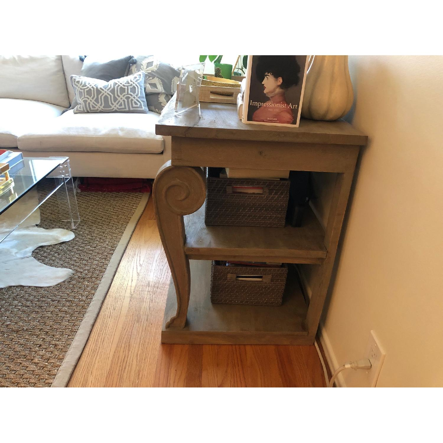 Washed Gray Wood Console Table - image-1