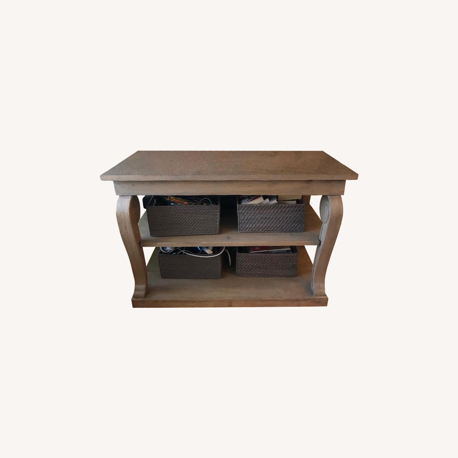 Washed Gray Wood Console Table - image-0