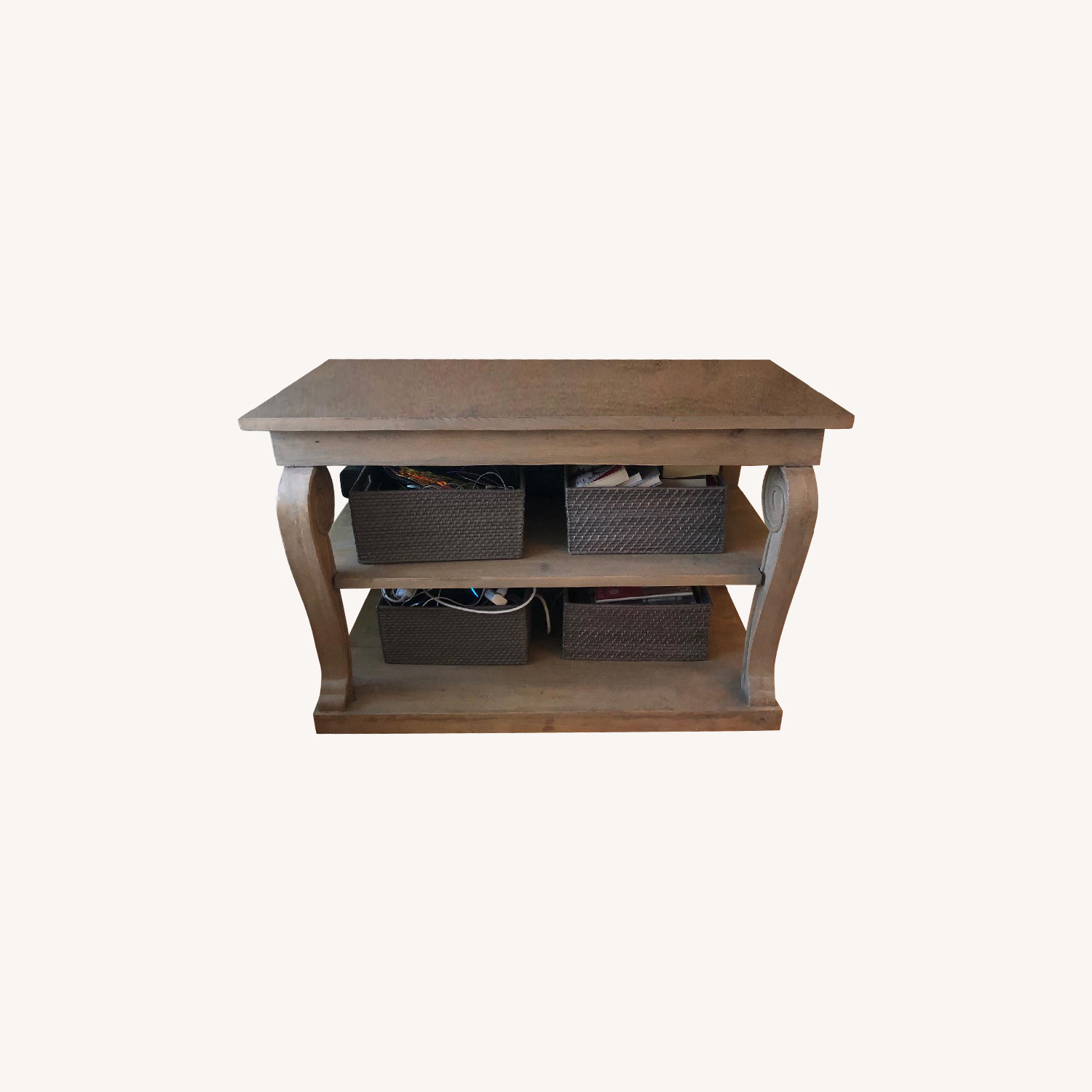 Washed Gray Wood Console Table