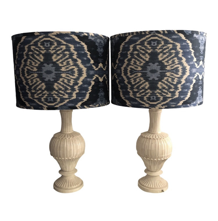 Crate & Barrel Ivory Shell ikat Table Lamps
