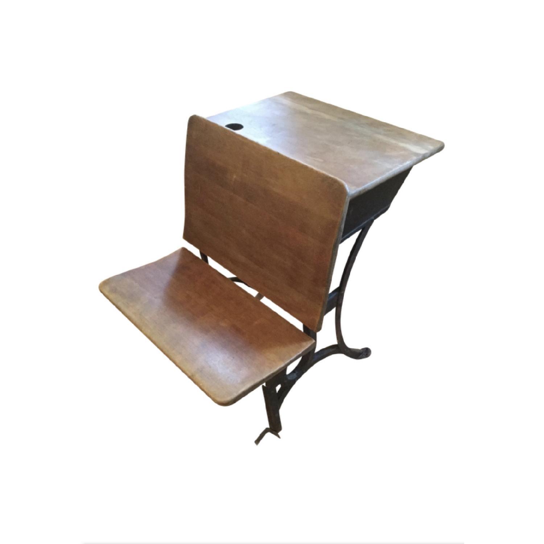 Antique Schoolhouse Desk w/ Inkwell & Shelf - image-0