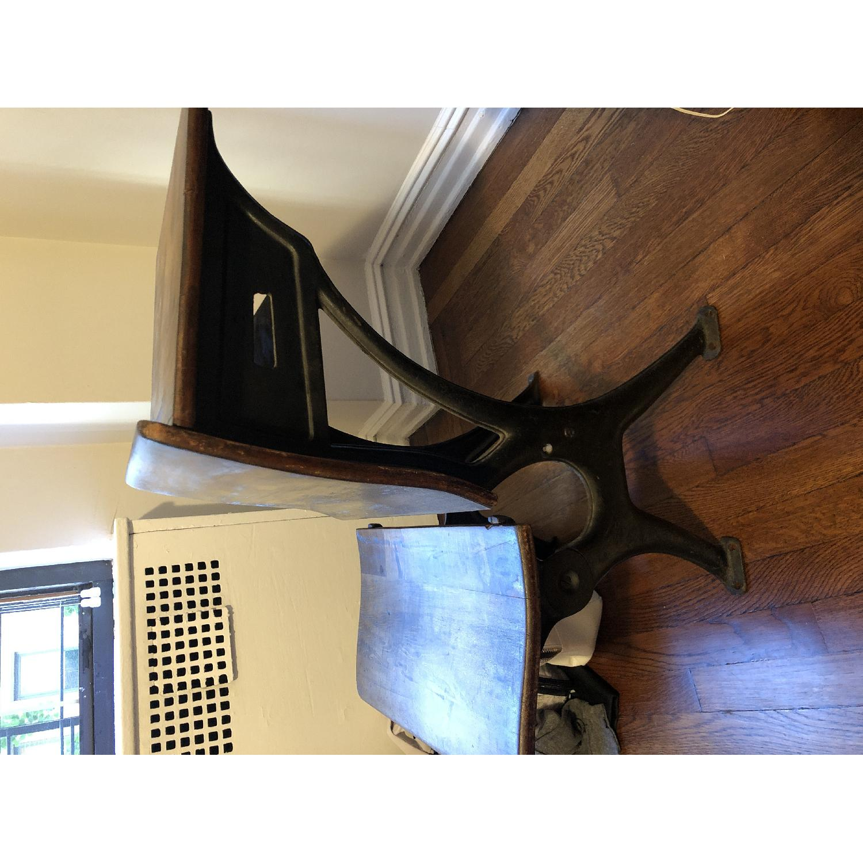Antique Schoolhouse Desk w/ Inkwell & Shelf - image-1