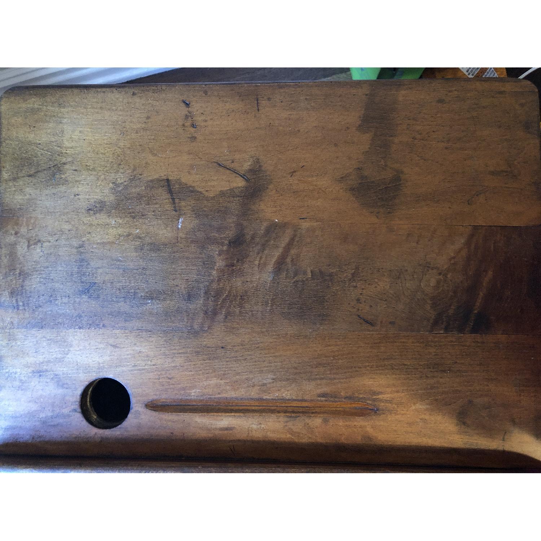 Antique Schoolhouse Desk w/ Inkwell & Shelf - image-2