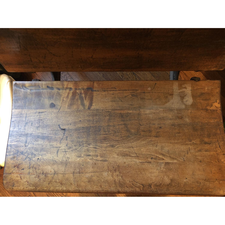 Antique Schoolhouse Desk w/ Inkwell & Shelf - image-3