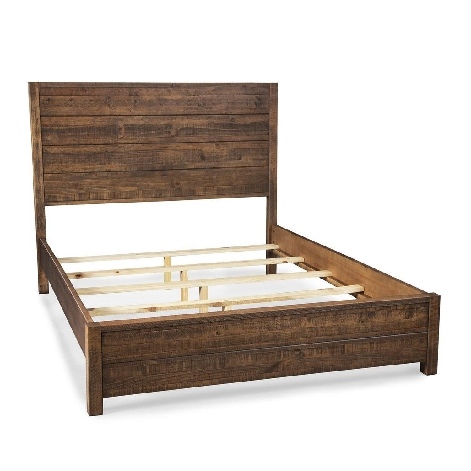 Grain Wood Furniture Rustic Style Queen Size Bed Frame - image-0