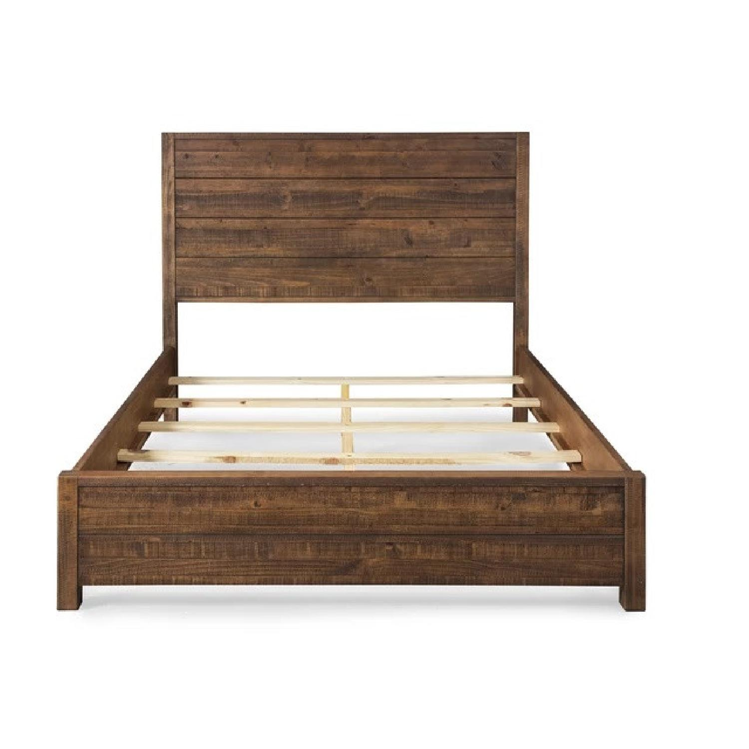Grain Wood Furniture Rustic Style Queen Size Bed Frame - image-4