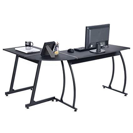 GreenForest L-Shaped Black Desk