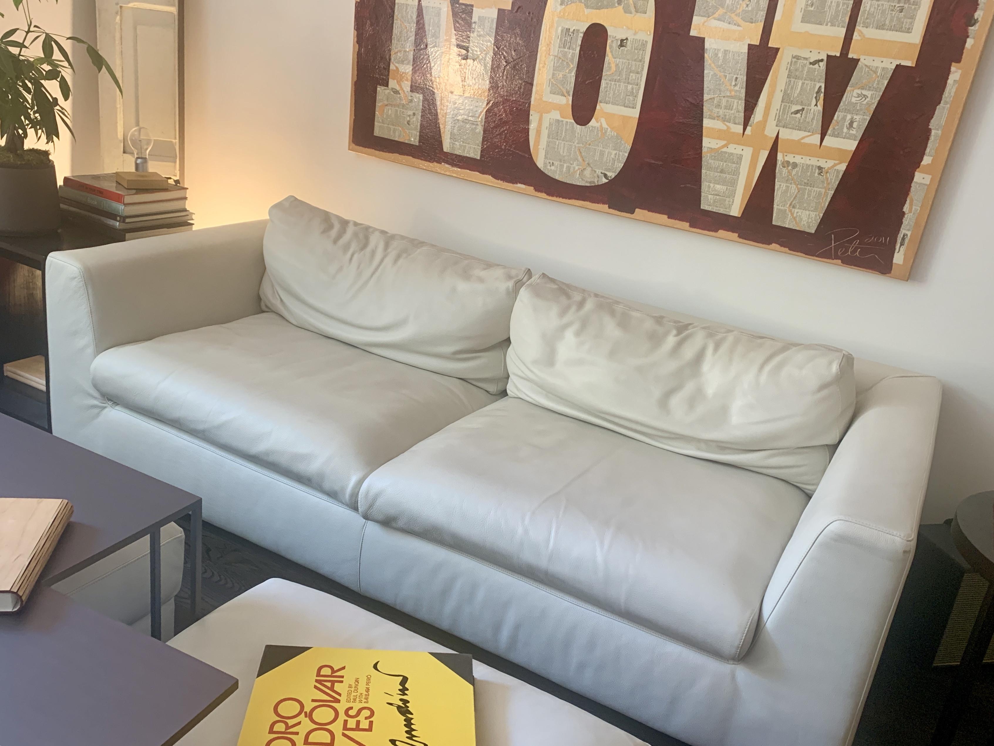 RH Off-White Leather Sofa