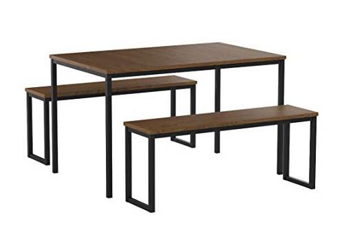 Zinus Louis Modern Studio Soho Dining Table w/ 2 Benches