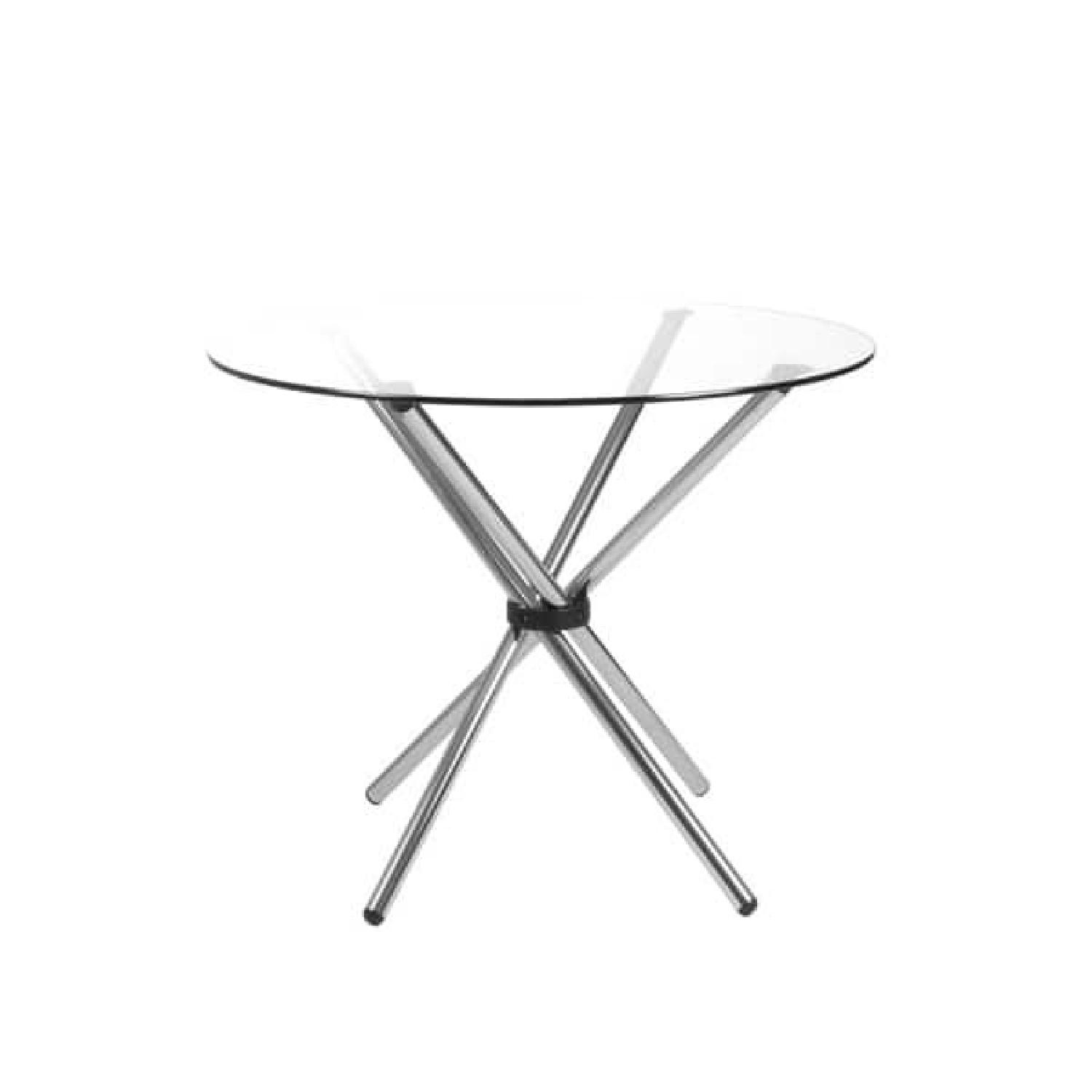 Euro Style Glass Dining Table w/ 2 Leather Dining Chairs - image-0